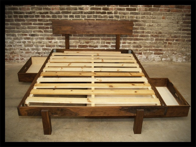 mid century modern solid walnut queen storage bed bedroom set zoom
