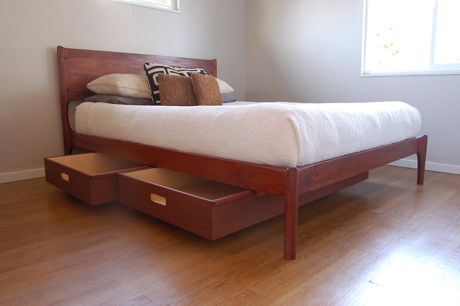 Classic Modern Bed With Storage Mid Century Danish Modern
