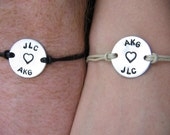 personalized bracelets - couples bracelets - handstamped bracelets - His and Her bracelets - best friends bracelet - name - initials - bff