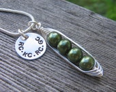 personalized peas in a pod necklace - 2, 3, 4, 5 peas - Mothers Necklace - Personalized Hand Stamped Necklace - Customized - SALE ITEM