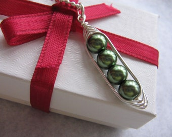 Peas in a Pod Necklace - Personalized Pea Pod - 2 3 4 or 5 Peas in your choice of 24 colors - Pea Pod charm - Custom Mothers Necklace