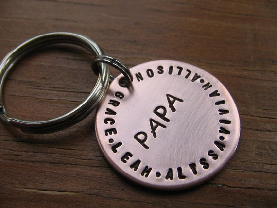 Copper Keychain - Personalized Hand Stamped with Dad, Papa, Mom, children, grandchildren, or a phrase, scripture, ect.