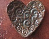 Pottery Heart - Winds of Mars Heart Mandala - Handmade Artisan Pottery