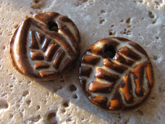 Ancient Earth Relics in Toasted Ivory - Handmade Ceramic Beads