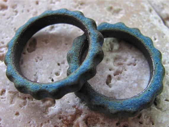 Ancient Blue Grotto Gear Links - Handmade Ceramic Beads