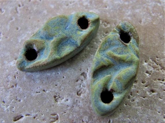 Yucatan Green Canoe Connector Beads - Handmade Ceramic Beads