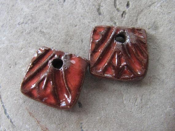 Mini Square Drops in Pomegranate Red - Handmade Ceramic Beads