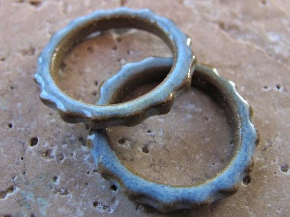 Sky Blue Gear Links - Handmade Ceramic Links
