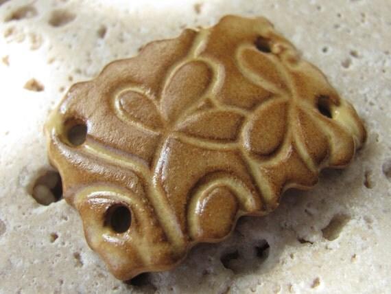 Amber Dust Gold Flowers Bracelet Focal - Handmade Ceramic Focal