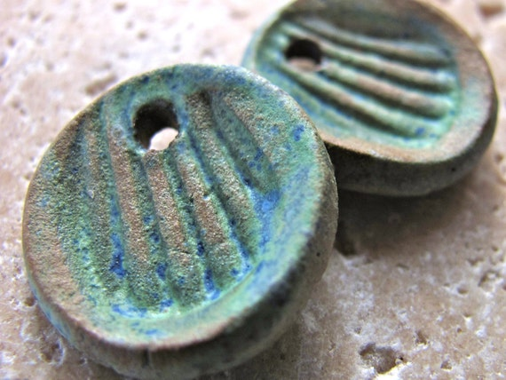 Peruvian Green Shell Charms - Handmade Ceramic Charms