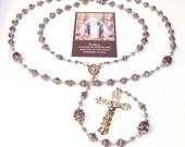 Stunning Five-Decade RARE Luster Glass Wedding Cake Bead Rosary