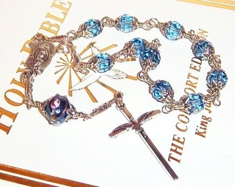 Unbreakable Swarovski Crystal Baby Boy Baptismal One-Decade Catholic Rosary, Prayer Beads, Pocket Rosary