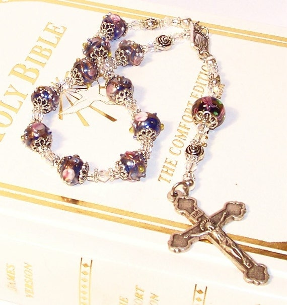 Divine Cobalt Blue RARE Luster Glass One-Decade Rosary from the Wedding Cake Bead Collection