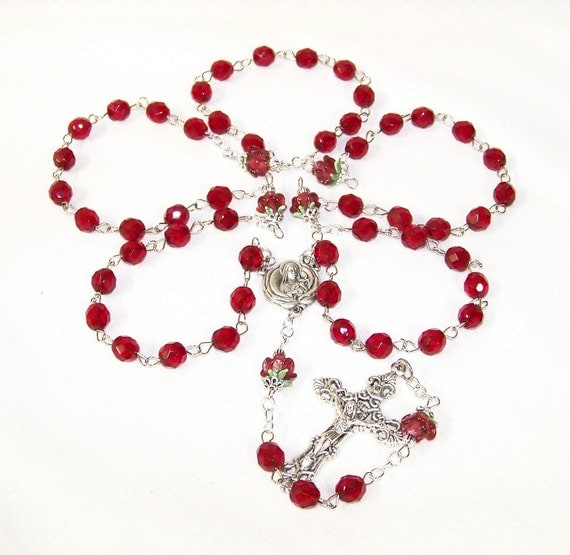 Exquisite St. Therese Ruby Red Crystal and Lampwork Roses Full-Size Relic Rosary