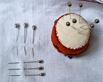 Vintage Sewing Pins, 12 Old Fashioned Pins/ Original Mid Century/ Make do and Mend Seamstress