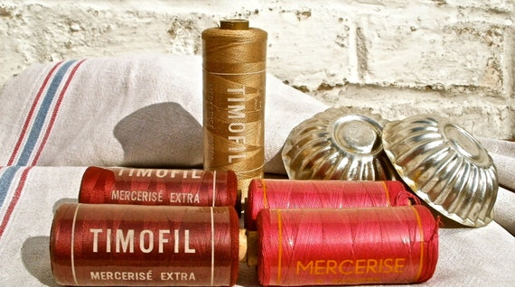 Five reels of unused French Timofil threads glorious colors Sewing supplies & haberdashery collection