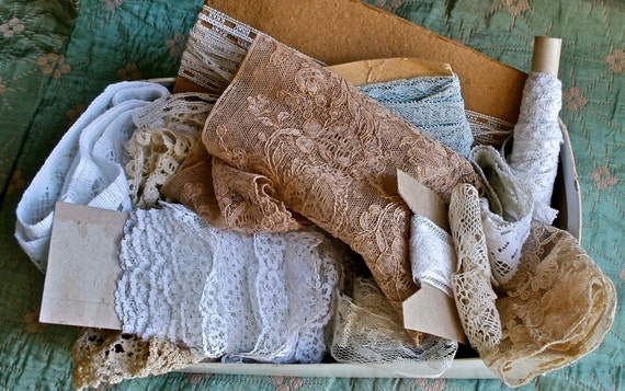 Reserved for DAWN GAYE Vintage lace nice collection box full of antique lace edging and trims 14 pieces