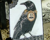 The Raven and Edgar Allan Poe Collage Gift Tags Set of 6