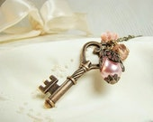 Charm Necklace Skeleton Key Jewelry Shabby Chic Boho Pearl Pink  Rose Flower Cabochon
