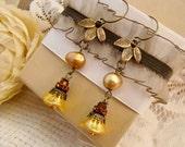Fall Leaf Rhinestone Pearl Beaded Earrings Vintage Style Brass by Alyssabeths