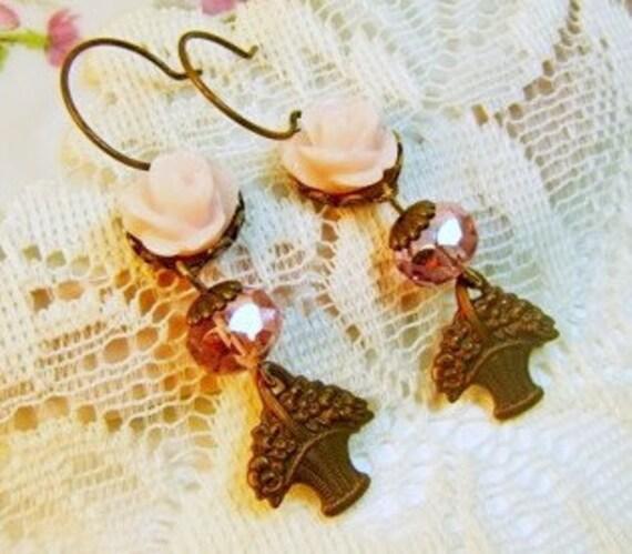 SALE..Paris Pink Rose Flower Cabochon Basket Charm Earrings . Vintage Style Jewelry by Alyssabeths