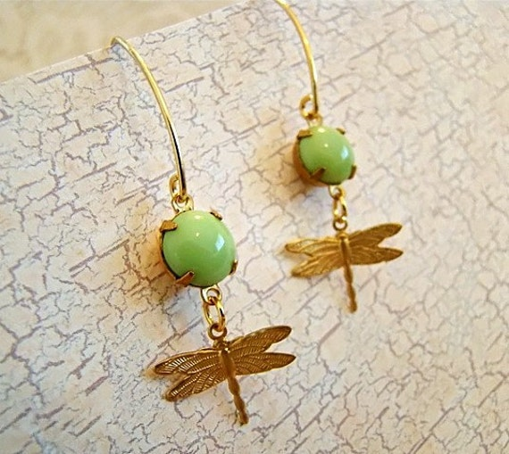 SALE..Chic Pastel Mint Green Jewel and Dragonfly Earrings by Alyssabeths