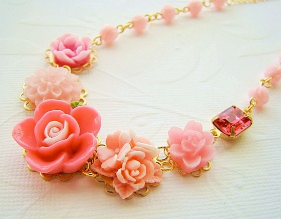 RESERVED for Rosie ......   Perfectly Pink Chic Flower Garden Necklace by Alyssabeths