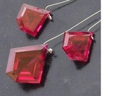 3 Pieces Set of 13-18mm Long aaa RUBY RED Corundum faceted FANCY shaped Briolette (Extremely Beautiful 3 set )