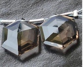AAA Quality, 17x17mm Long Smoky Quartz Faceted STAR Shape Briolettes- Amazing Shape Fine Matched pair