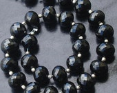 10 Inch Strand,Superb-AAA 8mm Huge Size,Roundells,Finest Quality BLACK SPINA Micro Faceted Roundells,Great Item at Low Price