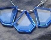 3 Pieces Set of 24-24mm Long AAA Tanzanite Blue Quartz Faceted  Fancy Trillion Shape Briolettes