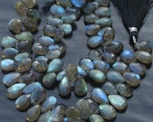 6 Inch Long Full Strand, Blue Flashy Labradorite Faceted PEAR Shaped Briolettes, 10-12mm Long size,Promotional Price