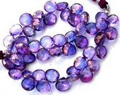 New Stock 1/2 Strand Mystic Shaded Purple-Blue Quartz Faceted Heart Shape Briolettes, AAA Quality,Best Cut, 8-9mm Size,Great Item