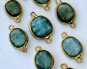 5 Pieces,Wholesale Offer,925 Sterling Silver, Amazing Rare MOSS AQUAMARINE, 24K Gold Plated Connector, 12-15mm