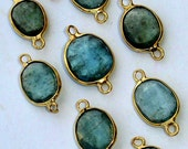 5Pieces,Wholesale Offer,925 Sterling Silver, Amazing Rare MOSS AQUAMARINE, 24K Gold Plated Connector, 12-15mm