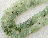 8 Inch Long Strand,  Finest Quality PREHNITE Micro Faceted Drops Shape Briolettes,7-10mm Long,Superb Item at Low Price
