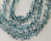 BRAND New, AAA quality, 1/2 Strand, Gorgeous Quality Moss Aquamarine Faceted PEAR Shaped Briolettes, 8-10mm,Great Item