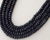 8 Inch Strand,Superb-Finest Quality BLACK SPINAL Faceted Rondells, 6-6.5mm size,Great Item