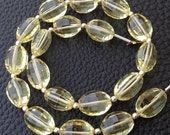 8 Inch Full Strand, Amaazing Lemon Quartz Faceted Ovals Nuggets, 9-12mm size,Finest Cut and Polished