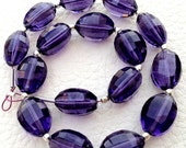 8 Inch Full Strand, Amaazing Amethyst Purple Quartz Faceted Ovals Nuggets, 9-12mm size,Finest Cut and Polished