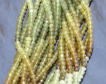 Full Strand,Finest Quality- Superb Grossular Garnet FACETED RONDELLS,4mm Great Item at Low Price
