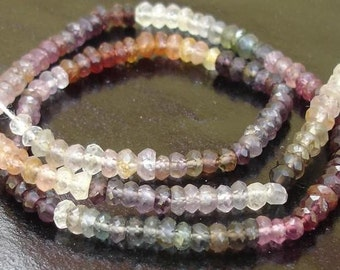 Rare Colour MULTI Colour SPINAL Faceted Rondells,Full 14 inches Long Strand in Size of aprx. 4mm