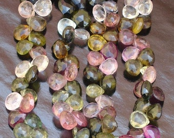 MULTI TOURMALINE Faceted HEART Briolettes,Superb Quality,(Size 5 to 6mm approx),Rare Item at Low Price
