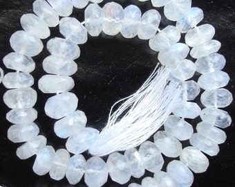 9-10mm, 1/2 Strand,Superb Quality BLUE FLASHY RAINBOW Moonstone Faceted Rondells,Larger size,Amazing