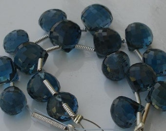 AAA  LONDON BLUE Topaz Flawless London Blue Topaz faceted Onions briolettes, in size of 6-7mm long,Superb