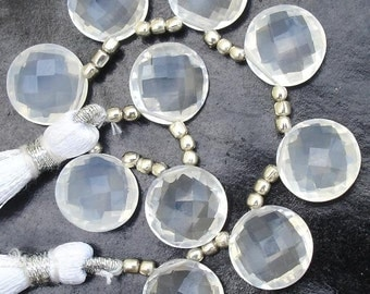 Finest Quality, ICE QUARTZ, 11X11 mm Coins Shape Briolettes, 10 Rare Pieces in size of 11mm Round