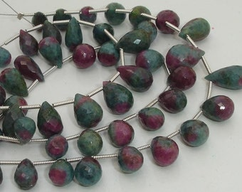 Superb-AAA Quality RUBY ZOISITE faceted Drops briolettes 7-10mm size,Great Price Rare Item