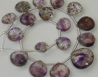 RARE 15 Pcs of High Quality MOSS AMETHYST Faceted Heart Shape Briolettes, 9-11mm Long,Great Price