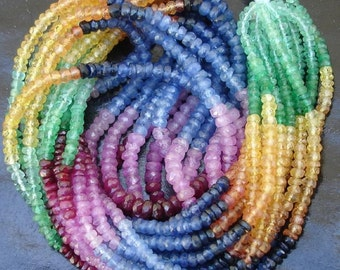 AAA Multi Precious faceted rondelles Emerald, Ruby, Blue sapphire, Yellow Sapphire and Pink Sapphire 2.5-3mm 8 inch strand