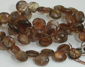 Superb-Finest Quality, ANDULASITE Faceted Heart shaped briolettes,7-9mm size,Great Price rare Item
